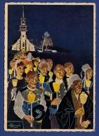 29 SAINTE-ANNE-LA-PALUD Procession De Nuit, Reproduction Aquarelle De Charles Homualk - Animée - Homualk