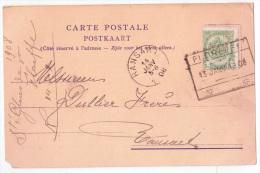 """Carte De La Verrerie De Floreffe Affr. 5c Vert Perforé CF Rectang Chemin De Fer """"FLOREFFE/1908"""" Pour Ransart - 1905 Thick Beard"""
