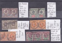 LOT DE TIMBRES DE GRANDE-BRETAGNE OBLITERES Nr 108/9-11-113-122-128 PAIRES  COTE 127€ - 1840-1901 (Victoria)