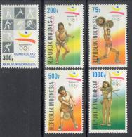 BL2-184 INDONESIA 1992 ZBL 1497-1501 SPORT, OLYMPICS BARCELONE 1992, ARCHERY, TENNIS, WEIGHTLIFT. MNH, POSTFRIS, NEUF**. - Zomer 1992: Barcelona