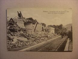 """Cartolina Reggio Calabria """"PELLARO - Terremoto 28 Dicembre 1908"""" Quello Che Rimane Della Stazione - Reggio Calabria"""