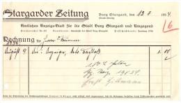 Uralte Rechnung 1934 - Stargarder Zeitung In Burg Stargard , Anzeige - Blatt , Hillmann , Mecklenburg !!! - Imprimerie & Papeterie