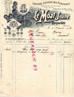 29 - ROSPORDEN - TRES BELLE FACTURE LE MOAL JEUNE- GRANDE LAITERIE DES FONTAINES -BEURRE MIEL CIRE-1909 - France