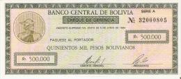BILLETE DE BOLIVIA DE 500000 PESOS  DEL AÑO 1984 CON RESELLO PARTE TRASERA (RARO)  SIN CIRCULAR-UNCIRCULATED - Bolivia