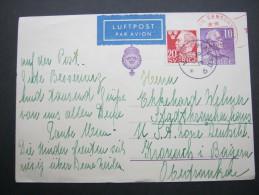 1947, Luftpostkarte Nach Deutschland - Suède