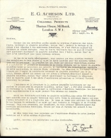 Faktuur Facture Brief E.G. Acheson Ltd - Colloidal Products London 1938 - Royaume-Uni