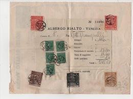^ VENEZIA HOTEL ALBERGO RIALTO IMPOSTA L.0,10 1 0,50 5 MARCA DA BOLLO FATTURA CARTA INTESTATA DOCUMENTO COMMERCIALE 161 - Italia