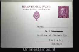 Sweden Postcard Mi Nr P 44 Med Betalt Svar Ystad To Leipzig Germany, 1931, Complete Set - Postwaardestukken
