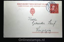 Sweden Postcard Mi Nr P 45 Med Betalt Svar Eksund (RR) To Leipzig Germany, 1921, Complete Set - Postwaardestukken