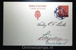 Sweden Postcard Mi Nr P 47 II,  To Leipzig 1924