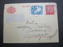 1938, Luftpostganzsache Nach Deutschland - Suède