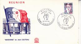REUNION -FDC - N° 385 TYPE 1 - MARIANNE DE COCTEAU -COTE : 40 € - Storia Postale