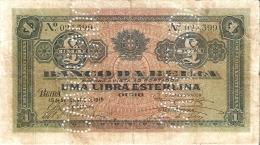 BILLETE DE MOZAMBIQUE DE 1 LIBRA ESTERLINA DEL AÑO 1919  (BANKNOTE) CANCELADO - Mozambique