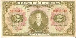 BILLETE DE COLOMBIA DE 2 PESOS DE ORO AÑO 1955 (BANKNOTE) RARO - Colombie