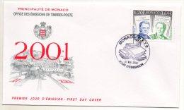 Fdc MONACO DENIS DIDEROT EMILE LITTRE 01 8 2001 - Ecrivains