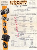 75010-75- PARIS -TRES BELLE FACTURE- SPECIALITES TIRANTY - PHOTO- PELLICULE-FILM- PERUTZ- LEITZ CORONET-1937 - France