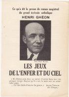 FEUILLET PUBLICITAIRE  LES JEUX DE L'ENFER ET DU CIEL ROMAN D' HENRI GEON - Publicidad