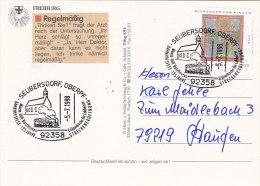 BRD 1981 EF Hildegard, Mit Sonderstempel: Seubersdorf 125 Jahre Streckeneröffnung 5.7.1998, Dampflok, AK: Freiburg I.Br. - Treinen