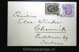 Sweden: Cover Mi. U 17 WM 1 , Used Upgraded Chemnitz Germany 1913 - Postwaardestukken