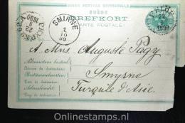 Sweden: Mi P 14,15 Ore,Eslöv To Smyrne, Levant Turkey, 1890, RRR € 1400 Cat Card Is Damaged.