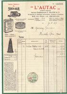 Facture Invoice Kredietnota L´ Autac Shaler Céelvé Blatgé Bruxelles Brussel  1933 Auto Automobielen Voitures - Cars