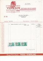 Facture Invoice Kredietnota Garage Vulcain ( In Relief )  Vanderplaetsen Ledeberg Gent 1949 Auto Automobielen Voitures - Cars