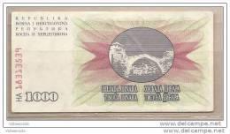 Bosnia Erzegovina - Banconota Circolata Da 1000 Dinari - 1992 - Bosnia And Herzegovina