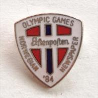 Badge / Pin (Olympic / Olimpique) - Yugoslavia Sarajevo Winter Games 1984 Norwegian Newspaper - Olympic Games