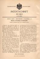 Original Patentschrift - Erwin Jahn In Bernsdorf B. Saalfeld A.S., 1899 , Maschine Für Schiefergriffe , Schiefer !!! - Maschinen