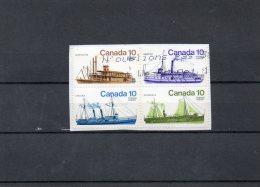 """CANADA    4 Timbres Se Tenant 10   """"Bateaux""""     (sur Fragment  Oblitérés) - Canada"""