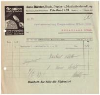 Uralte Rechnung 1932 - Buchhandlung Und Musikalien , A. Richter In Friedland , Mecklenburg !!! Deutsche Illustrierte !! - Druck & Papierwaren