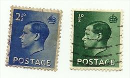 1936 - Gran Bretagna 205 + 208 Effigie, - Usati