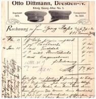 Uralte Rechnung 1907 - Militär - Effekten Und Mützenfabrik O. Dittmann In Dresden !!! - Uniformen