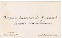 FORGES ET LAMINOIRS DE ST AMAND NORD - Cartes De Visite