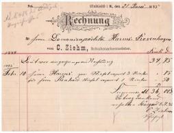 Uralte Rechnung 1885 - C. Ziehm In Burg Stargard , Schuhmacher , Domänenpächter Harms , Rosenhagen , Mecklenburg !!! - Druck & Papierwaren
