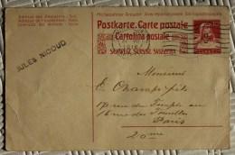 Carte Postale Pour Paris Oblitération Entier Postal Suisse Chaux De Fonds - Storia Postale