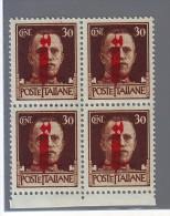 ITALIA ITALY1944 R.S.I   30 Cent. IMPERIALE SOPRASTAMPATA QUARTINA MNH** - 4. 1944-45 Repubblica Sociale
