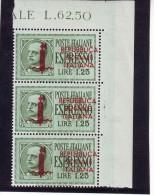 ITALIA ITALY 1944 R.S.I   ESPRESSO DA 1,25  DEL 1932 SOPRAS.  BLOCCO DI 3   MNH** - 4. 1944-45 Repubblica Sociale