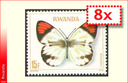 Rwanda 0913** x8 -15F Papillon  MNH ----------x8