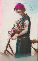 NDab Jeune Femme Flapper Girl Bicyclette 1916 Photo CB Paris Vers Arlon - Cartoline
