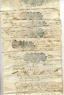 6 Cachets Généralité De Champagne  De 1702 Sur  Document De  12  Pages  Recto  Verso ( 1 Sol  Et 4 Deniers ) - Cachets Généralité