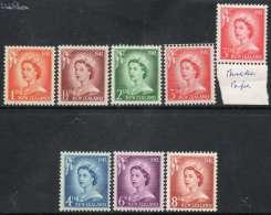 New Zealand 1955-1959 - Large Value Definitive Set Complete + 3d On White Paper SG745-751 & 748b MNH Cat £16.80 SG2012 - Nuovi