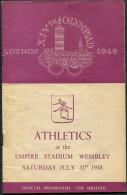 1948 London Olympics Athletics July 31st Daily Programme - Books