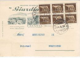 E816- Cartolina Pubblicitaria Giardino Allegra - Catania - A Bompietro Palermo 10/8/34 - Catania