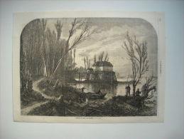 GRAVURE 1864. ENVIRONS DE PARIS. L'ILE SAINT-OUEN, LE MOULIN. - Prints & Engravings