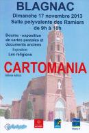 CPM CARTOMANIA BLAGNAC BOURSE DU 17 NOVEMBRE 2013  EGLISE - Bourses & Salons De Collections