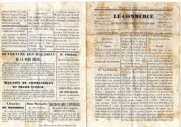"""MINI-JOURNAL """"LE COMMERCE"""" FEUILLE POLITIQUE ET LITTERAIRE N°1 - 1er Janvier - édition De Onze Heuresdu Matin - 1850 - 1899"""