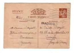 Carte Postale Entier Postal Iris 0,90F 1941 Retour à L'Envoyeur Cachet Inadmis Bordeaux Gironde Issoire Puy De Dôme - Entiers Postaux