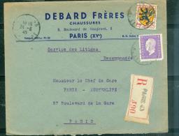 Lettre   Recommandée Affranchie . Par MARIANNE DE DULAC  Oblitéré Paris En Aout 1945 Phi15023 - 1944-45 Marianna Di Dulac
