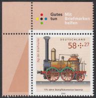 "!a! GERMANY 2013 Mi. 3027 MNH SINGLE From Upper Left Corner -Steam Locomotive ""Saxonia"" - BRD"